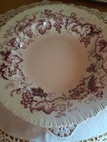 Szőlőmintás angol porcelán fajansz tányér