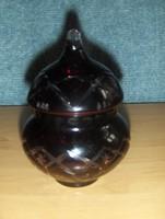 Mélybordó metszett üveg cukortartó (0-3)