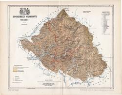 Udvarhely vármegye térkép 1897 (1), lexikon melléklet, Gönczy Pál, 23 x 30 cm, megye, Posner Károly