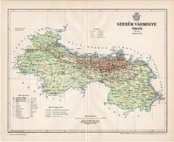 Szerém vármegye térkép 1897 (4), lexikon melléklet, Gönczy Pál, 23 x 29 cm, megye, Posner Károly