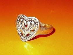 Szív cizellált mint. Tibeti ezüst Régi gyűrű 8-as
