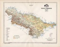 Verőce vármegye térkép 1897 (3), lexikon melléklet, Gönczy Pál, 23 x 30 cm, megye, Posner Károly