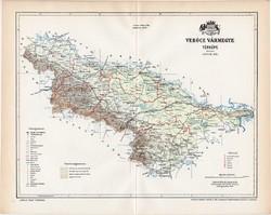Verőce vármegye térkép 1897 (2), lexikon melléklet, Gönczy Pál, 23 x 29 cm, megye, Posner Károly