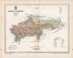 Varasd vármegye térkép 1897 (5), lexikon melléklet, Gönczy Pál, 23 x 30 cm, megye, Posner Károly