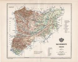 Vas vármegye térkép 1897 (1), lexikon melléklet, Gönczy Pál, 23 x 29 cm, megye, Posner Károly