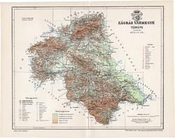 Zágráb vármegye térkép 1897 (3), lexikon melléklet, Gönczy Pál, 23 x 30 cm, megye, Posner Károly