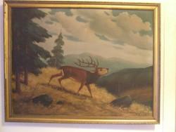 Jelzett, szignos nagy vászon festmény