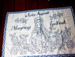 Ritka Szűz Mária fohász hímzett falvédő