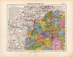 Magyarország északnyugati része térkép 1906, magyar atlasz, eredeti, Pozsony, Veszprém, Komárom