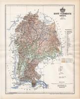 Hont vármegye térkép 1894, lexikon melléklet, Gönczy Pál, 23 x 29 cm, megye, Posner Károly, eredeti