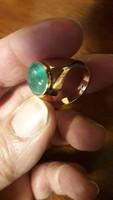 Antik 14K sárgaarany ArtDeco smaragd gyűrű