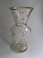 Virág mintás, nehéz, antik üveg váza.