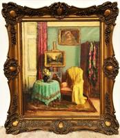 Ladányi Jószits Mária (Budapest, 1877) Enteriór - c. olajfestménye 77x67cm EREDETI GARANCIÁVAL !!