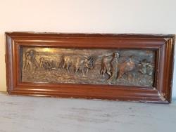 Antik bronz / vagy bronzírozott fém / dombormű - falikép. Nagyméretű : 51,5 x 21,5cm