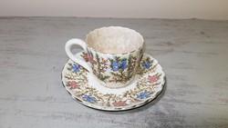 Antik Sarreguemines francia gyönyörűkávéscsésze alátét tányérjával.