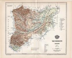 Vas vármegye térkép 1897, lexikon melléklet, Gönczy Pál, 23 x 29 cm, megye, Posner Károly, eredeti