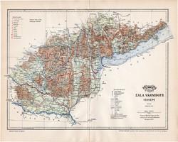 Zala vármegye térkép 1897, lexikon melléklet, Gönczy Pál, 23 x 29 cm, megye, Posner Károly, eredeti