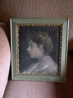 40 x 35 cm -es , szürkés-zöldes , szép keretben lévő , jól megfestett olajfestmény / portré .