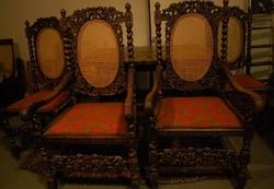 Reneszánsz stílusú étkező garnitúra 5 db -os, az 1800 -as évek végéről!