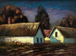 """Réti Mátyás (1922-2002 ) """" Dobi öreg házak 1985"""""""