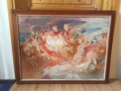 Vincze László Szabin nők elrablása olajvászon festmény 1987-ből