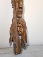 """Faragott fa arcok /""""anyaság""""/ , régi nagyméretű faragott falidísz"""