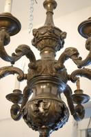 Antik bronzcsillár (tömör) 6 karú + 1 tető égő 1800-as évek végéről! Átalakított!