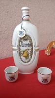 Hollóházi porcelán pálinkás készlet vilmoskörtés 3 db-os jelzett