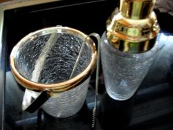 Repesztett üveg  ezüstözött shaker, jégvödör, csipesz,koktélos készlet