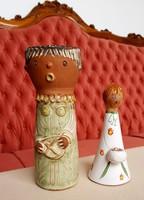 Kiss Roóz Ilona - figurális kerámia szobor 2db