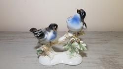 Régi nagyméretű madárpáros. Német porcelán figura pár.