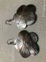 Valódi faragott kagyló fülbevaló ezüsttel