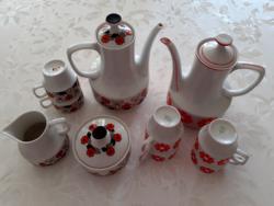 Retro Hollóházi porcelán kávéskanna csésze kiöntő cukortartó 10 db
