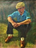 110x87cm Csáki-Maronyák József (1910 - 2002) Pihenő c , olajfestmény1935-ből EREDETI GARANCIÁVAL
