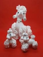 Nagyon ritka és különleges porcelán Uszkár kutya mama kettő kölykével