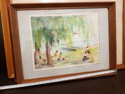 Balatonalmádi, akvarell, szignós, 1964, keretben, üveg mögöt