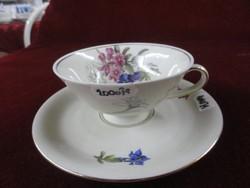 Waldershof Bavaria német porcelán, antik ajándék teáscsésze + alátét. Számozott: 44.