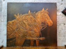Nagyméretű lovas motívumos retro réz falikép / falidísz