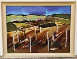 Végh András (1940 - ) Szőlődombok c, Képcsarnokos olajfestménye 86x66cm EREDETI GARANCIÁVAL