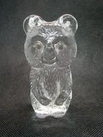 Gyönyörű és hibátlan Olimpiai Misa Maci utánzat tömör üvegből 9 cm magas