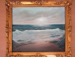 Waves at sunset - signed antique oil painting