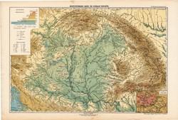 Nagy - Magyarország hegy- és vízrajzi térkép 1913 (2), eredeti, atlasz, Kogutowicz Manó, földrajz