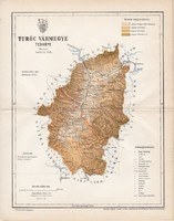 Turóc vármegye térkép 1893 (5), lexikon melléklet, Gönczy Pál, 23 x 30 cm, megye, Posner Károly