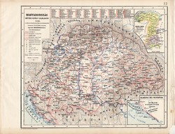 Magyarország Mátyás király halálakor, térkép, kiadva 1913, történelmi, 1490, Kogutowicz Manó, régi