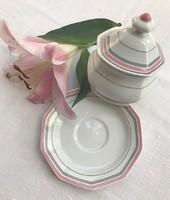 Nagyobb Bavaria cukortartó alátét tányérral, jelzett, hibátlan szép színekkel