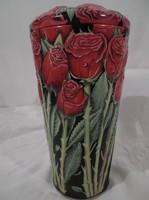 Fém - rózsacsokor alakú teljes DOMBORNYOMOTT - fémdoboz nagy 21 x 11 cm - hibátlan