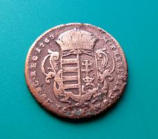 Rézdénár 1763. jn. - zárt koronás  - Mária Terézia (1740-1780)