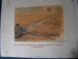 Ruszkay György karikatúra Öntözéses gazdálkodás hatalmas méretű karikatúra, Műcsarnokos pecséttel