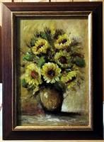 Napraforgók - Gyönyörű keretben ( 20 x 30, olaj )