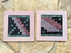 Drozdik Ilona grafikus: Geometria 1-2. mozaik kép párban